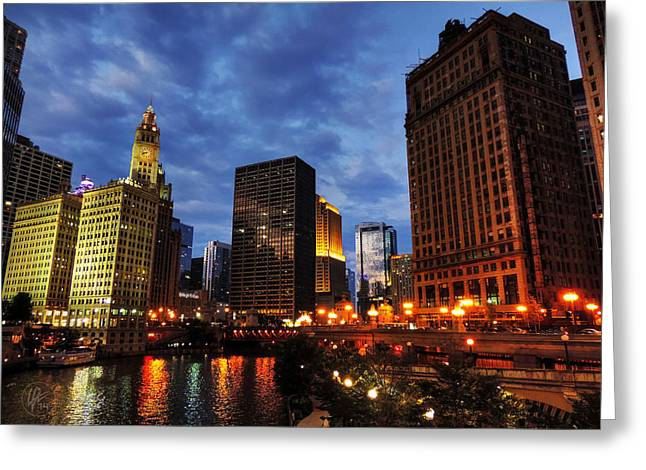 Chicago River Twilight 002 Greeting Card by Lance Vaughn
