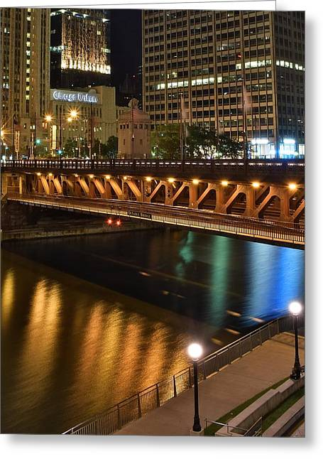 Chicago River Walk Greeting Card by Frozen in Time Fine Art Photography