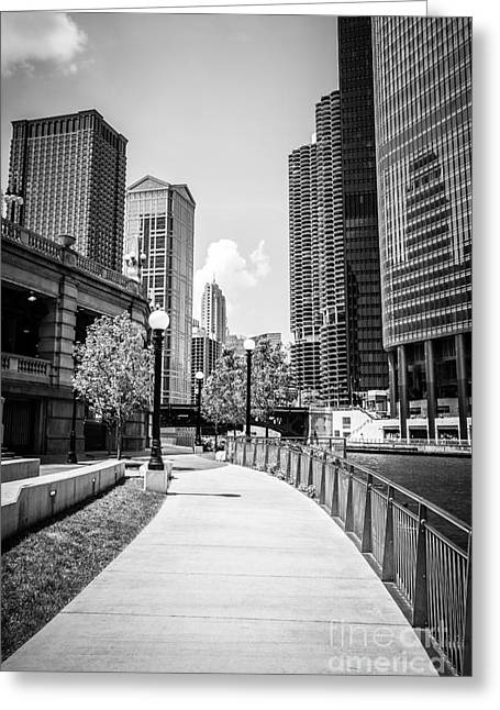 Chicago Riverwalk Black And White Picture Greeting Card by Paul Velgos