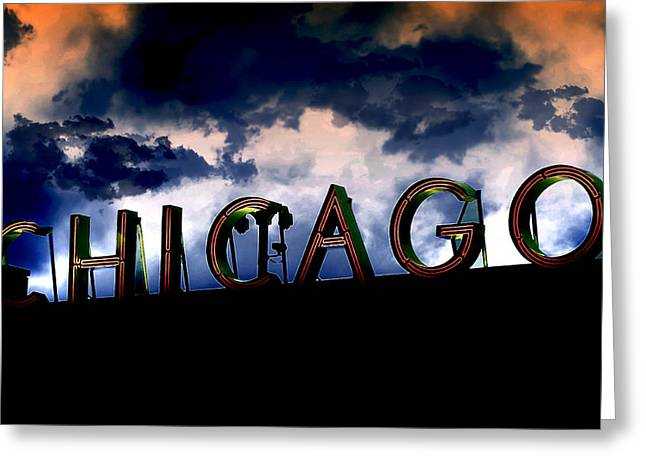 Chicago Sign Sunset Greeting Card by Kristie  Bonnewell