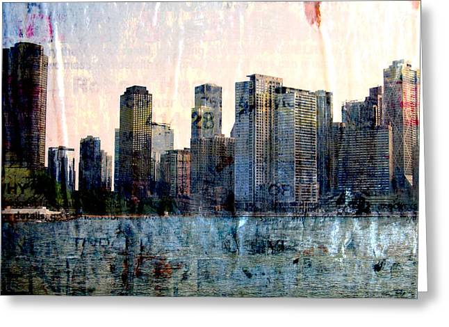 Chicago Skyline 1 And Painted Newspaper Greeting Card