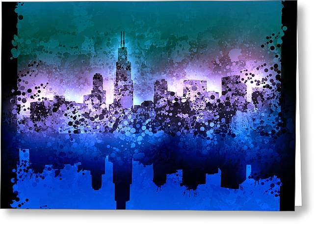 Chicago Skyline Abstract 2 Greeting Card