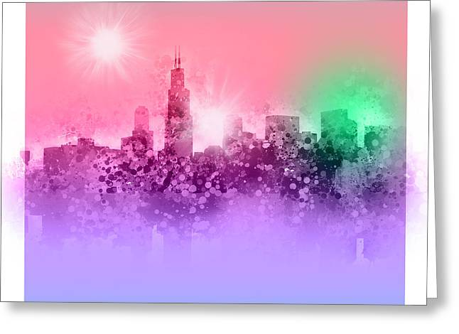 Chicago Skyline Abstract 3 Greeting Card
