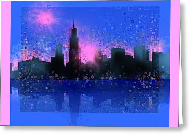 Chicago Skyline Abstract 5 Greeting Card