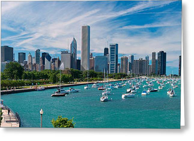 Chicago Skyline Daytime Panoramic Greeting Card by Adam Romanowicz