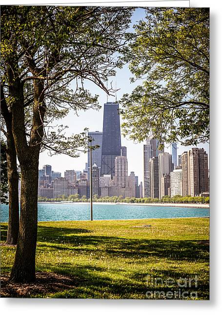 Chicago Skyline And Hancock Building Through Trees Greeting Card by Paul Velgos