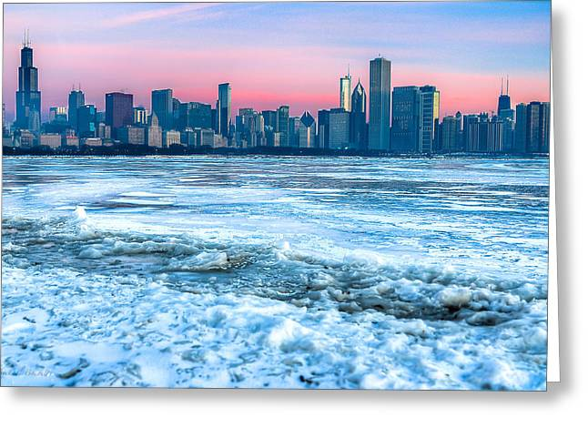 Chicago Skyline At Dawn - Lake Michigan 3-9-14 Greeting Card by Michael  Bennett