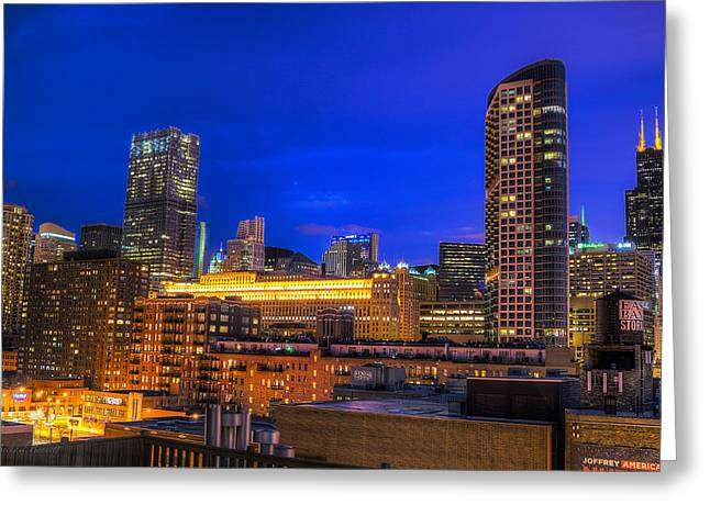 Chicago Skyline At Dusk - Blue Hour Willis Tower Greeting Card by Michael  Bennett