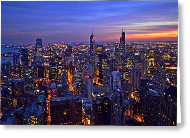 Chicago Skyline At Dusk From John Hancock Signature Lounge Greeting Card