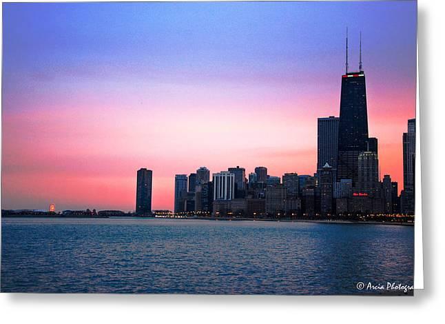 Chicago Skyline At Lake Michigan Greeting Card
