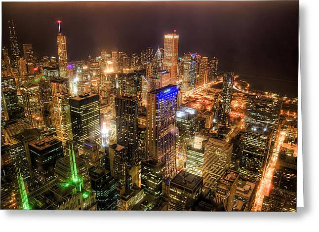Chicago Skyline At Night - Hancock And Trump Greeting Card by Michael  Bennett