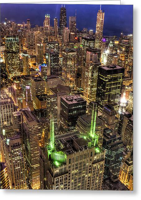 Chicago Skyline At Night 1 Greeting Card by Michael  Bennett