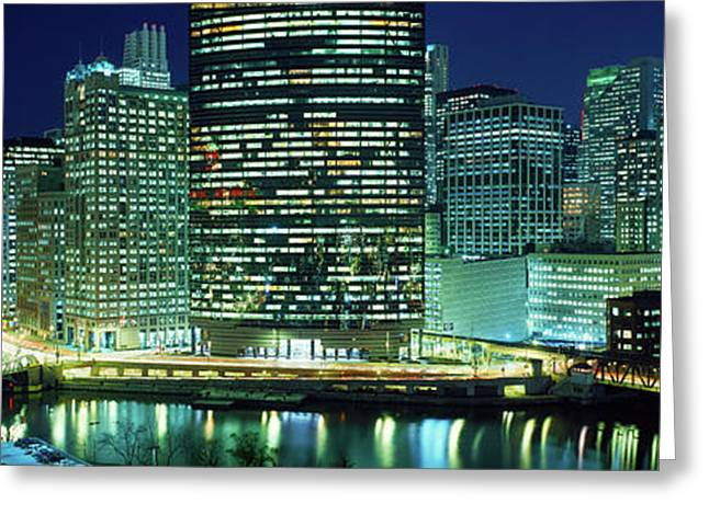 Chicago Skyline At Night, Chicago, Cook Greeting Card