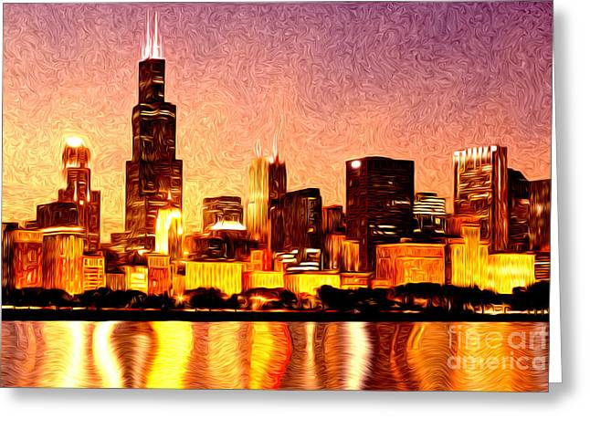 Chicago Skyline At Night Digital Painting Greeting Card by Paul Velgos
