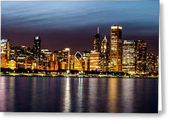 Chicago Skyline At Night Panoramic Greeting Card