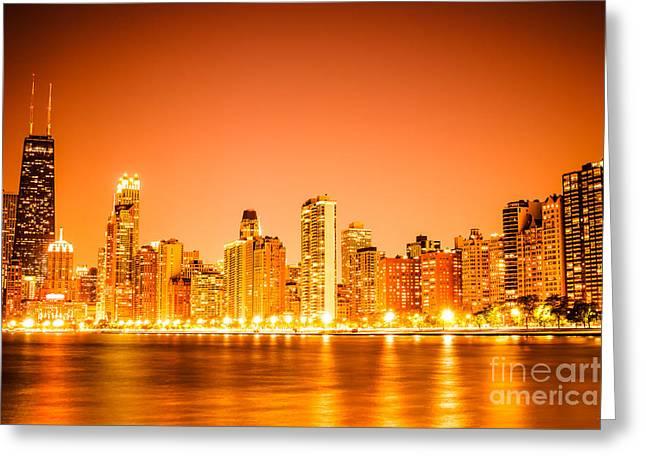 Chicago Skyline At Night With Orange Sky Greeting Card