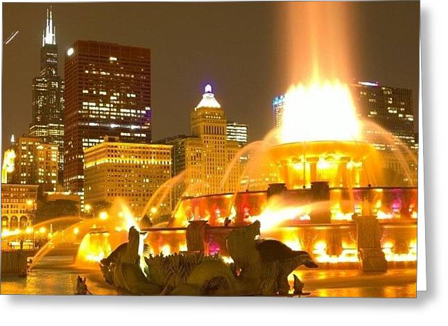 Chicago Skyline At Night With Greeting Card