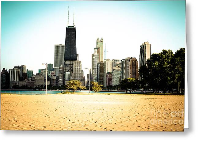Chicago Skyline At North Avenue Beach Photo Greeting Card