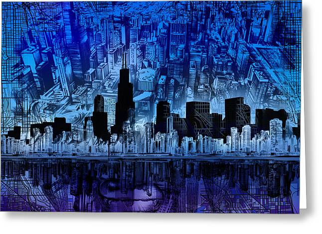 Chicago Skyline Blue Version Greeting Card