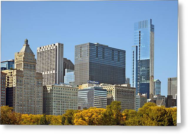 Chicago Skyline From Millenium Park II Greeting Card by Christine Till