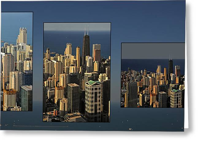 Chicago Skyline From Willis Tower Greeting Card by Christine Till