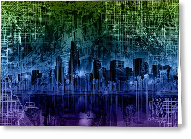 Chicago Skyline Gradient Version Greeting Card