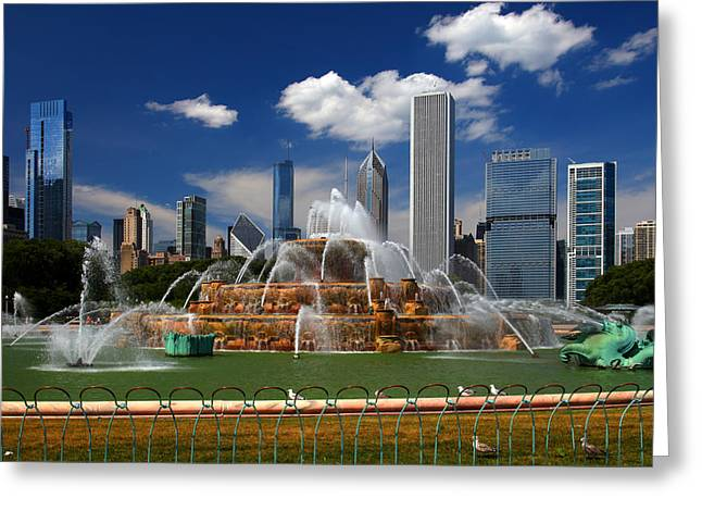Chicago Skyline Grant Park Fountain Clouds Greeting Card