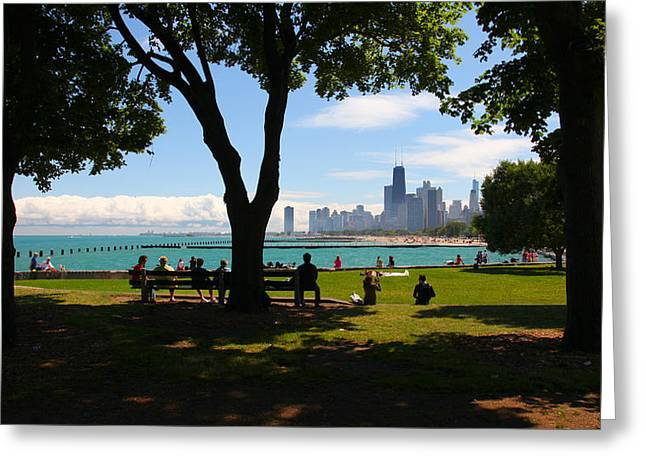 Chicago Skyline Lakefront Park Greeting Card