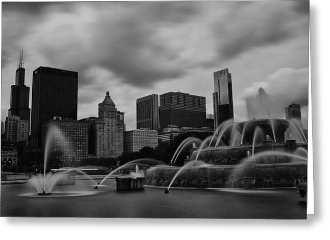 Chicago City Skyline Greeting Card by Miguel Winterpacht