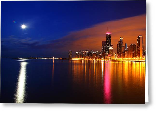Chicago Skyline Moonlight Greeting Card