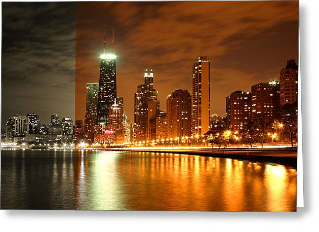 Chicago Skyline Night Amber Greeting Card