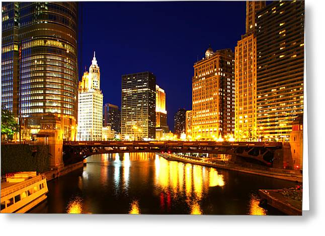 Chicago Skyline Night River Greeting Card