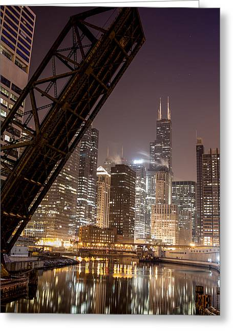 Chicago Skyline Over Chicago River Greeting Card