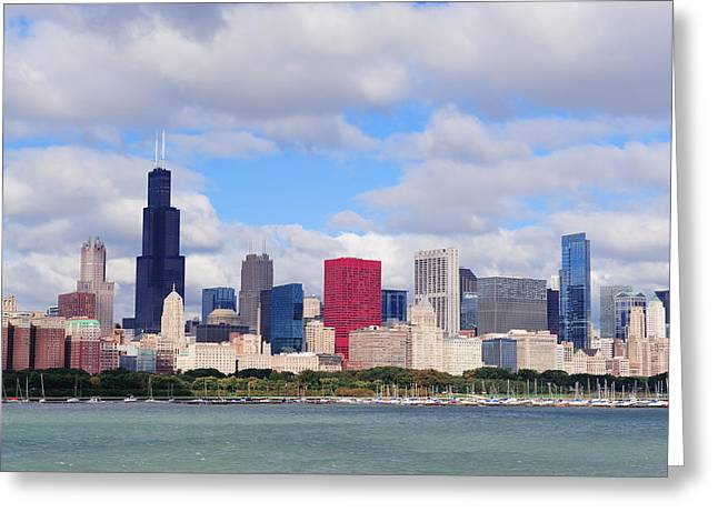 Chicago Skyline Over Lake Michigan Greeting Card