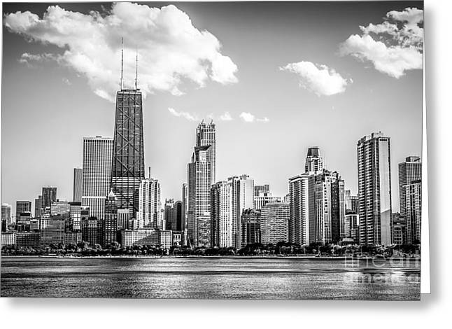 Chicago Skyline Picture In Black And White Greeting Card