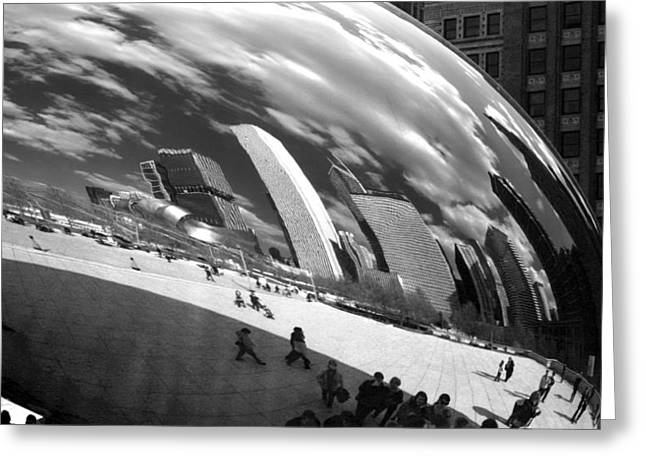 Chicago Skyline Reflected Bean Greeting Card