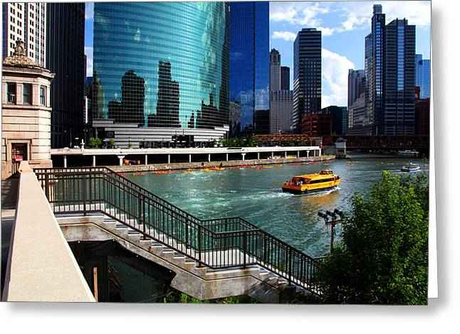 Chicago Skyline River Boat Greeting Card