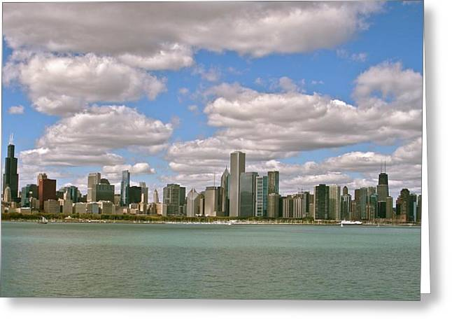Chicago Skyline Greeting Card by Sharin Gabl