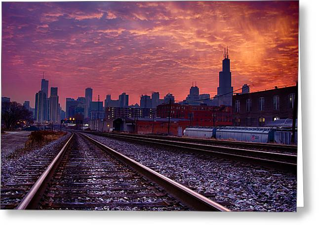 Chicago Skyline Sunrise December 1 2013 02 Greeting Card
