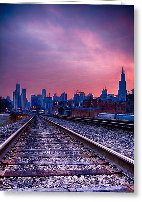 Chicago Skyline Sunrise December 1 2013 Greeting Card