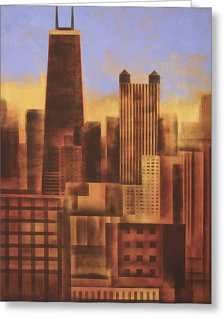 Chicago Skyline Sunset - In Neutral Tones Greeting Card by Joseph Catanzaro