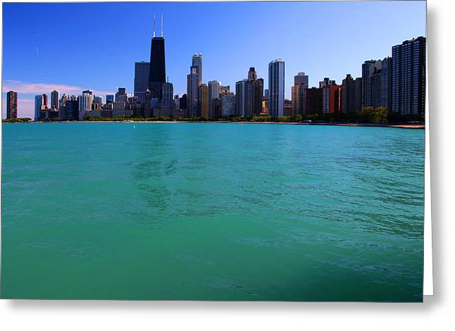 Chicago Skyline Teal Water Greeting Card