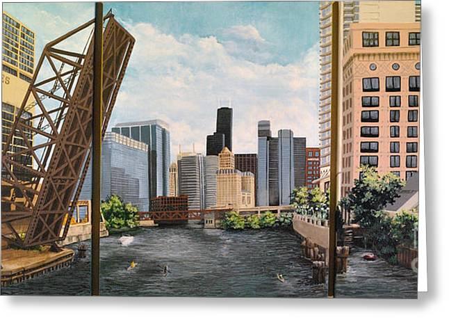 Chicago Skyline Triptych Greeting Card