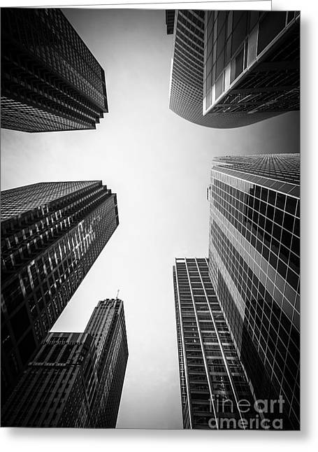 Chicago Skyscrapers In Black And White Greeting Card by Paul Velgos