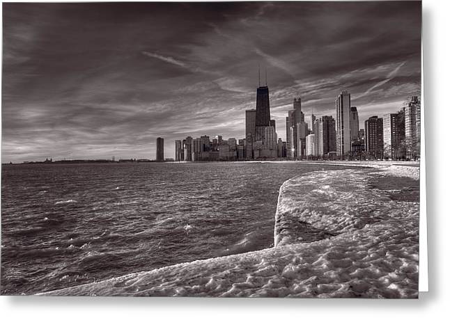 Chicago Sunrise Bw Greeting Card by Steve Gadomski