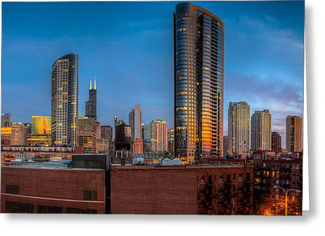 Chicago Sunset Photogtaphy Greeting Card by Michael  Bennett