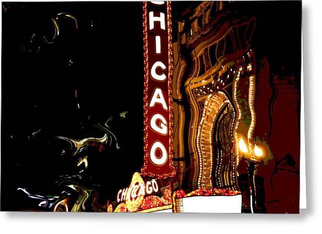 Chicago Theater Sign  Greeting Card by Sophie Vigneault