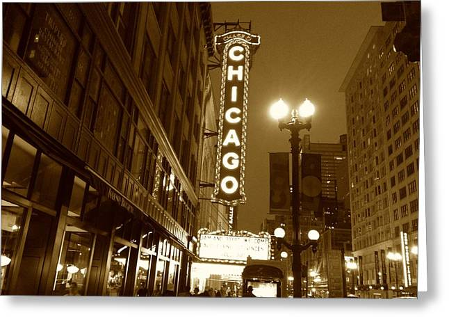 Greeting Card featuring the photograph Chicago Theatre by Alan Lakin