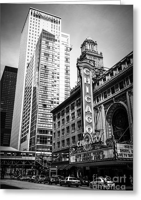 Chicago Theatre Black And White Picture Greeting Card