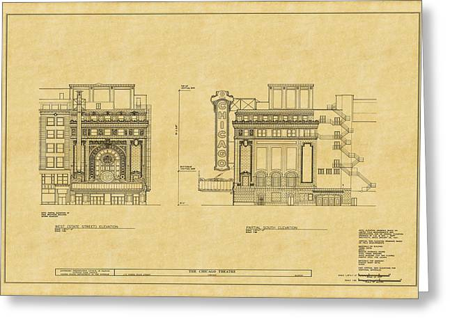 Chicago Theatre Blueprint 2 Greeting Card by Andrew Fare